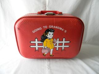 VINTAGE TROJAN LUGGAGE CHILDS CHILDRENS HARD SHELL SUITCASE GOING TO