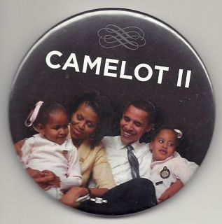 Camelot II, Barack, Michelle Obama 2008 political campaign button new