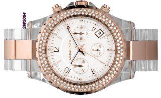 New Michael Kors Rose Gold Clear Ladies Watch MK5323