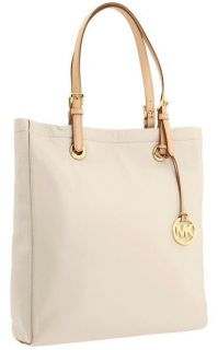 MICHAEL KORS WHITE LEATHER LARGE SHOULDER TOTE BAG PURSE HANDBAG