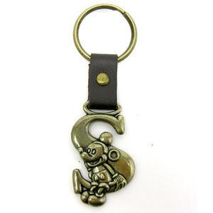Disney Mickey Mouse Brass Key Ring Key Chain Letter S