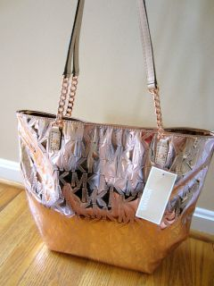 Michael Kors Jet Set Chain ROSE Gold MIrror Metallic Bag Tote Handbag