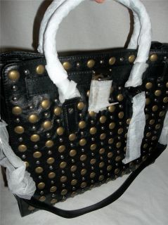 Michael Kors Hamilton Large Studded N S Leather Tote Handbag Black 448