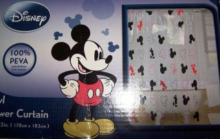 Disney Mickey Mouse Shower Curtain Vinyl Red Black New