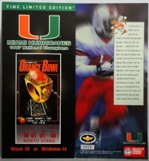 MIAMI HURRICANES 1987 NCAA NATIONAL CHAMPIONS COMMEMORATIVE TICKET 10