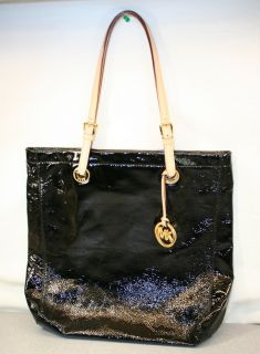 MICHAEL KORS BLACK Patent LEATHER Vachetta Handles GRAB BAG TOTE PURSE