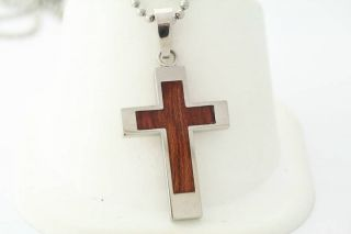 SHR Stainless Steel and Wood Cross Necklace