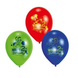 Mickey Mouse Happy 2nd Birthday Latex 9 Balloons x 6