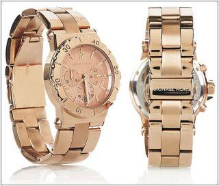 250 Michael Kors Rose Gold Tone Chronograph Watch MK5499 New