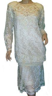 Vintage PAT RICHARDS Michael Maiello Cream Sequin Lace Wedding Prom
