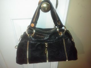 MICHAEL Michael Kors Moxley Bag Satchel in Black Leather Gold Zipper