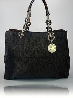 Michael Kors Womens Handbag Brown PVC Cynthia MK Logo Satchel Purse