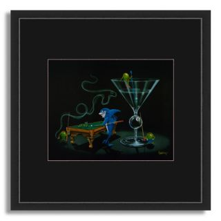 16x16 Michael Godard Pool Shark 2 Empty Pockets S Mat Black FRAMED ART