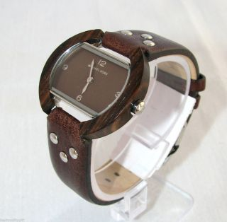 MICHAEL KORS BROWN LEATHER STRAP WOOD BEZEL BROWN DIAL WOMENS WATCH