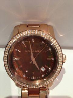 MICHAEL KORS WOMENS ROSE GOLD RUNWAY GLITZ CHOCOLATE WATCH MK5494   $