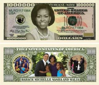 Michelle Obama One Million Dollars Bill Notes 2 for $1