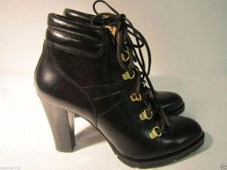 Michael for Michael Kors Black Leather Lace Up Heel Ankle Boots Sz 9 5