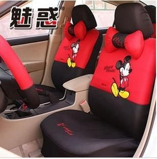 Mickey Mouse Car Sterring Wheel Front Rear Seat Covers Accessories Set