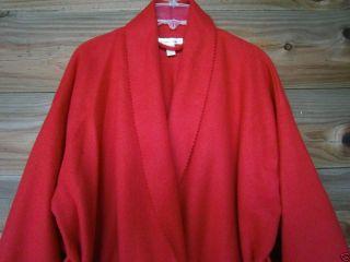 Vintage Victoria Secrets Long Red Fleece Felt Type Robe L Large Warm