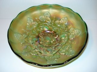 Millersburg Carnival Glass Blackberry Wreath Pattern Green 8 Bowl