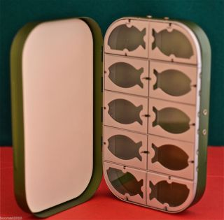 Green Aluminum Fly Box 10 Window Foam from Mill River Fly Rods