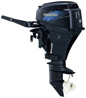Tohatsu 15 HP Electric Start 4 Stroke Outboard Motor Tiller 20 Shaft