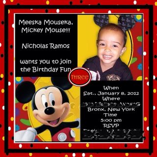 Mickey Mouse Clubhouse Birthday Party Custom Invitation Digital File