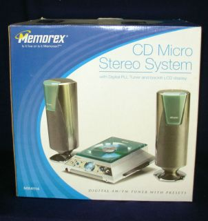 Memorex CD Micro Stereo System Digital PLL Am FM Tuner Backlit LCD