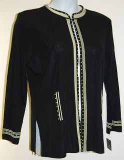 MING WANG Black Knit Jacket with Yellow Trim 0X NWT Plus Size FREE