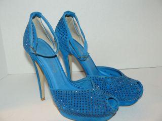 Jeffrey Campbell Womens Midler Platform Suede Pump Blue Sz 7 5 Box 131