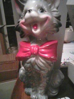 Vtg CAT Figurine, TALL, Christmas Ornament, Smiling, Singing, Big Eyes