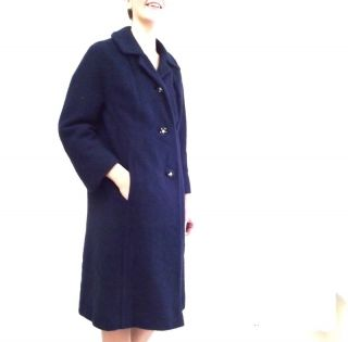 60s Vtg Navy Blue Mid Length Millay Car Coat Sz L w Rhinestone Button