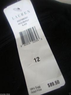 Ralph Lauren Black Skirt Middleburg Size 12 Zipper Pockets