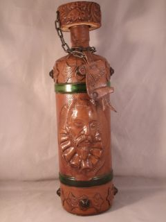 Leather Covered Whiskey Bottle Miguel de Cervantes Made in Spain 12 1