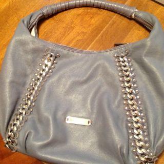 Large Michael Kors Gray Gold Chain Leather Handbag