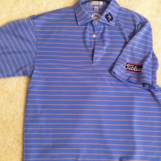 Peter Millar Tour BLUE StripeTitleist FJ Logo Polo Shirt Sz M footjoy