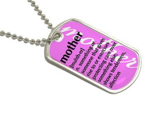 Mother Definition Pink Military Dog Tag Keychain