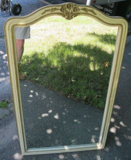 Vintage Flower Carved Henredon Furn Co Painted Country French Mirror