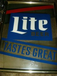 Miller Lite Beer Bar Mirror Sign 1991
