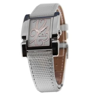 MILUS API 015 WOMENS STAINLESS STEEL WHITE PATTERN LEATHER BAND ANALOG