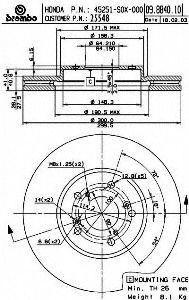 Brembo 25548 Disc Brake Rotor