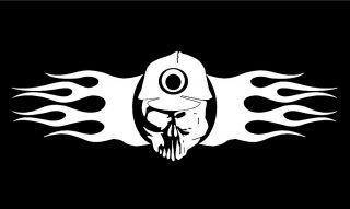 Caver Miner Skull with flames vinyl car truck van window decal sticker