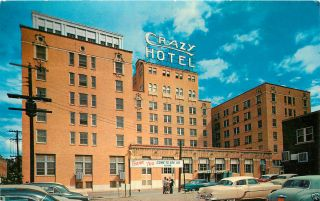 Crazy Hotel Mineral Wells Texas Old Cars People Postcard