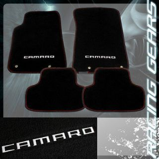 2010 2013 Chevrolet Camaro 4 Piece Black Nylon Red Stiching Floor Mat