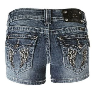 ME RHINESTONES ANGEL WING VINTAGE DENIM SHORTS JEANS 25 26 27 28 29