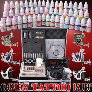 Complete Tattoo Kit 54 Color Ink 6 Machine Guns Set LCD Power Supply