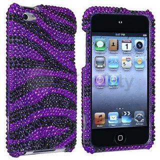 Purple Black Zebra Rhinestone Bling Case Cover for iPod Touch 4th Gen