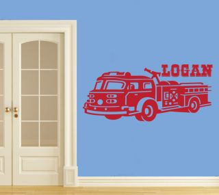 Fire Truck Wall Vinyl Decal Design For Kids Bedroom 5 foot Long
