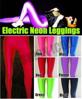 80s Disco Rave Red Opaque Glossy Shiny UV Lycra Spandex Leggings