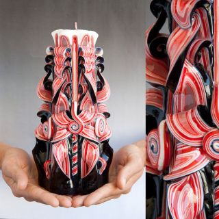 Big Gothic Black & Red Handmade (Hand Carved) Sculptured Candle (Prima